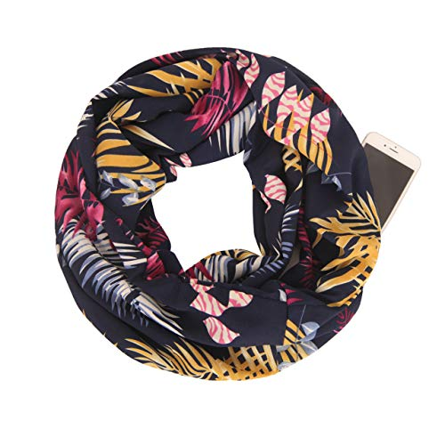 MissShorthair Women Flower Print Infinity Scarfs with Zipper Pocket, Travel Loop Scarf Wrap