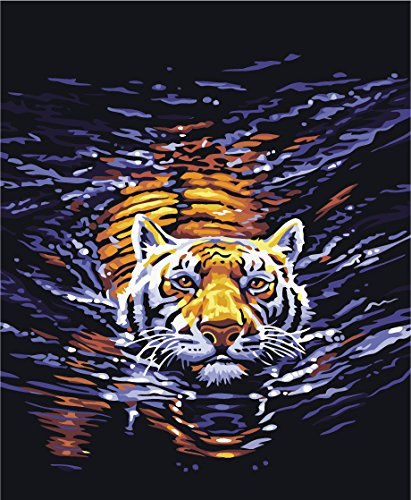 Prime Leader Frameless DIY Oil Painting, Paint by Number Kit 16x20 inch Tiger Swimming