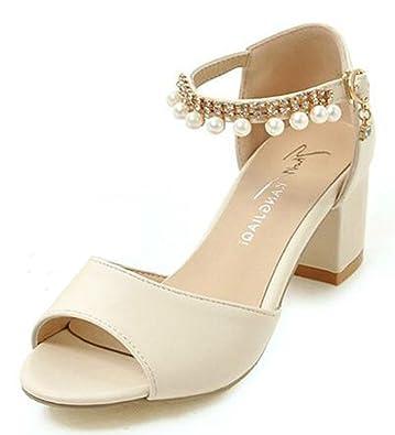 2590a87229a6 Mofri Women s Sexy Rhinestone Beaded Buckled Ankle Strap Bridal Shoes Medium  Block Heel Sandals (Beige