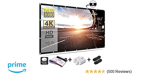 2d74164916 Mdbebbr 120 inch Projection Screen 16:9 HD Foldable Anti-crease Portable  Projector Movies Screen for Home Theater Outdoor Indoor Support Double  Sided ...