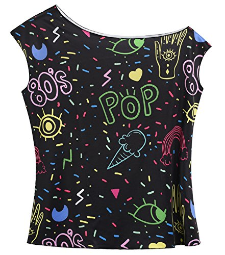 JustinCostume Women's 80's T Shirt 1980's Costume (X-Large, Print B) -