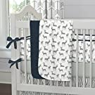 Carousel Designs Navy and Gray Deer Crib Blanket