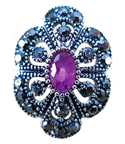 (FaithOwl Marcasite Simulated Ruby Filigree 925 Sterling Silver Ring (8))