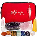 Exceptional Gift Set - Chakra Crystals and Healing Stones - Great Kit for Beginners and Enthusiasts - Includes Amethyst, Rose, Clear and Golden Quartz Crystals, Pendulum - Detailed How-To Ebook