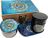 BLUE MANDALA STASH BOX COMBO WITH GRINDER STASH JAR & ROLLING TRAY - Combo Includes a matching 4 piece titanium grinder, smell proof stash jar, and rolling tray that fit neatly inside the Wood Stash Box. Now comes with a lock and Key! Stash Box C...
