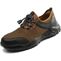 Heyeam Steel Toe Indestructible Work Shoes for Men Lightweight Breathable Safety Shoes Puncture Proof Footwear Industrial Construction Shoes Sneakers Outdoor Resistant Composite Toe Shoes