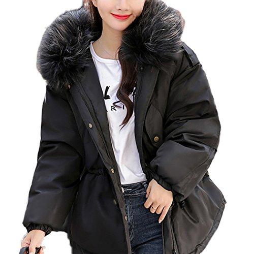 HANMAX Doudoune Femme Mi-Longue Hiver avec Capuche Fourrure en Duvet de Coton Manteau de Coton Chaude Grande Taille Noir 2