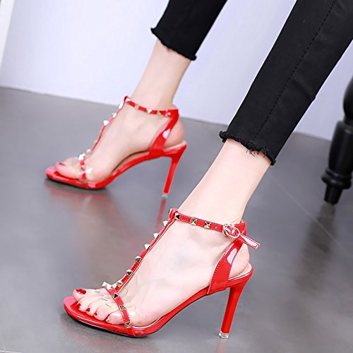 KPHY-Im Sommer 9Cm Heels High Heels 9Cm Dünnen Absätzen Sandalen Zehen Sexy Nieten T-Buttons Transparent Modische Damenschuhe. gules 370422