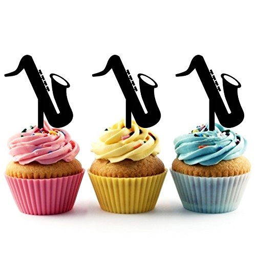 TA0168 Saxophone Silhouette Party Wedding Birthday Acrylic Cupcake Toppers Decor 10 pcs