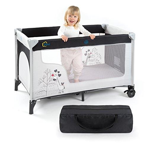 Fillikid Cuna de viaje para bebé jirafa - 120 x 60 cm, de 0 a 3 años | Cama plegable con colchón, bolsa de transporte, ruedas y entrada lateral: Amazon.es: ...
