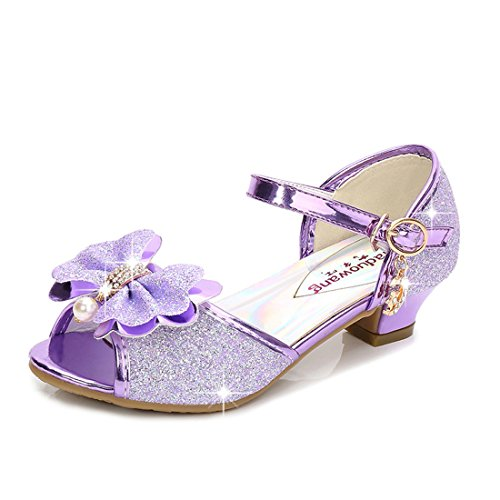 FKKFYY Rhinestone Knot Heel Sandals for Girls Size 13 and Up Wedge Performance Sequin Princess Sandals Dress Shoes Girls Platform Wedding Princess (Purple 29)
