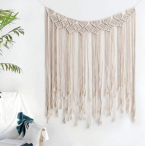 Puninoto Woven Wall Art Macrame Tapestry,Wall Hanging Decor,Large Woven Wall Hangings,Cotton Handmade Wall Art Home Wall Decor,Macrame Wall Holder for Apartment Bedroom Nursery Gallery 39 x 45