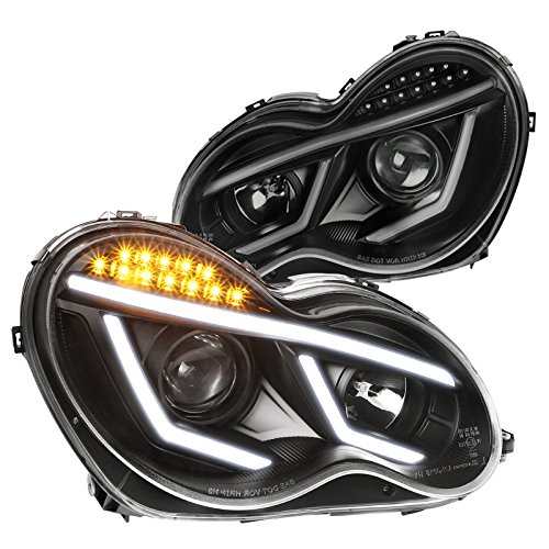 Benz W203 C-Class C230 C240 C320 LED DRL Projector Headlights Black - Headlight Class Mercedes Projector E