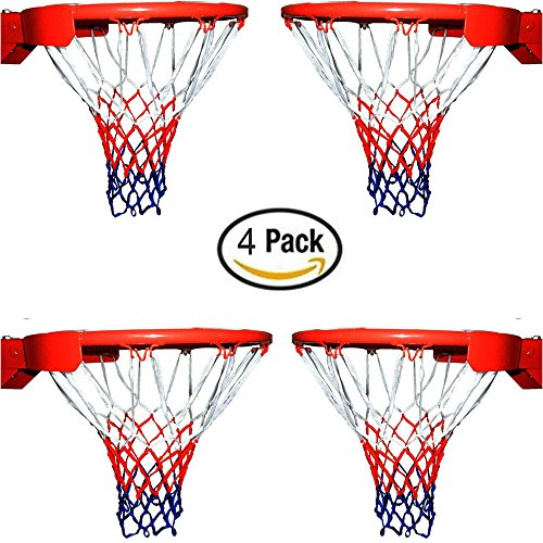 Yeoubi 4 Pack Basketball Net All-Weather Thick Heavy Duty for Standard Outdoor or Indoor Basketball Hoop,12 Loop