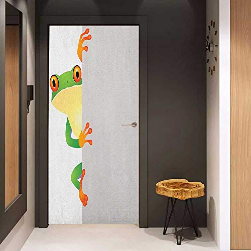 Self-Adhesive Wall Murals Reptile Funky Frog Prince with Big Eyes on Wall Camouflage Nursery Reptiles Theme Sticker Removable Door Decal W17.1 x H78.7 Green Yellow -