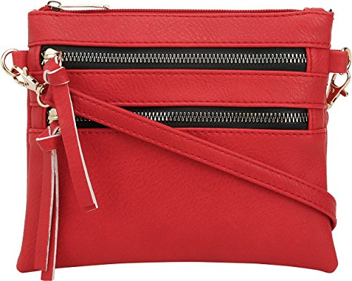 DELUXITY Crossbody Wristlet Bag Adjustable Detachable Strap Small Purse | Red