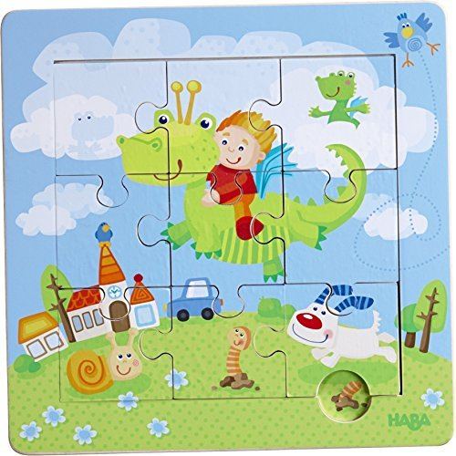HABA HABA HABA Dragon Knights Framed Wooden Puzzle - with 9 Double Sided Jigsaw Pieces for Ages 18 Months and Up by HABA df6600
