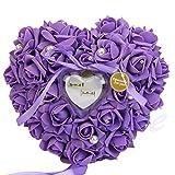 "Amrka Romantic Rose Wedding Ring Box Rose Heart Favors Wedding Ring Pillow with Elegant Satin Flora Jewelry Case Wedding Accessories, 10.24"" x 10.24"" x 3.54"" (Purple)"