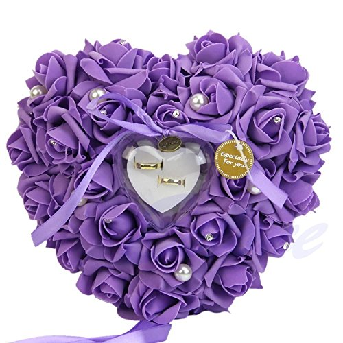 - Amrka Romantic Rose Wedding Ring Box Rose Heart Favors Wedding Ring Pillow with Elegant Satin Flora Jewelry Case Wedding Accessories, 10.24