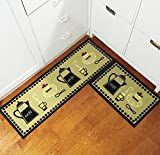 Kitchen Rugs Cushioned EUCH Non-slip Rubber Backing Carpet Kitchen Mat Doormat Runner Bathroom Rug 2 Piece Sets,15