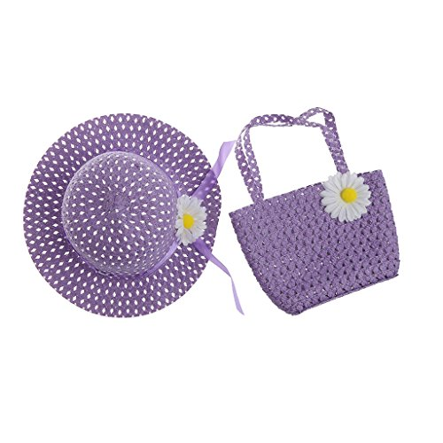cici store Newborn Baby Kids Flower Summer Hat Cap And Handbag Set Photography Photo Props (purple) ()