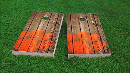 (Tailgate Pro's Clemson Tigers Distressed Cornhole Boards, ACA Corn Hole Set, Comes with 2 Boards, 8 Corn Filled Bags & 1 Vinyl Carry Case)
