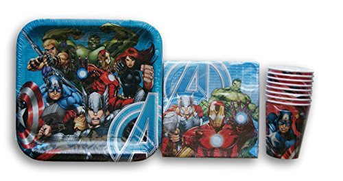 Marvel Avengers Themed Birthday Party Set - Plates, Napkins, Cups by Hallmark Party