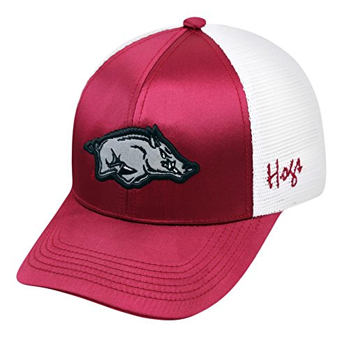 Arkansas Razorbacks TOW Women Maroon White Satina Mesh Adjustable Strap Hat Cap (White Razorbacks Arkansas Mesh)