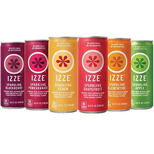 IZZE Sparkling Juice, 6 Flavor Sampler Variety Pack, 8.4oz Cans, 12 Count