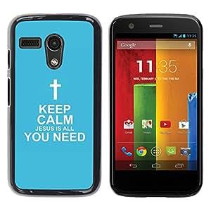 Paccase / SLIM PC / Aliminium Casa Carcasa Funda Case Cover para - BIBLE Keep Calm - Jesus Is All You Need - Motorola Moto G 1 1ST Gen I X1032