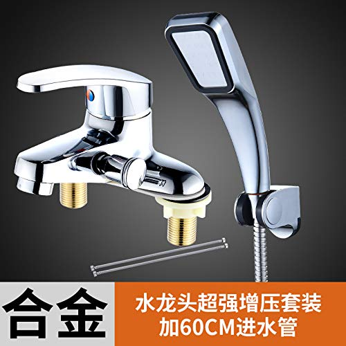 Mischventil Wasserhahn Doppelloch mit Duschbad Set Mischventil Waschtisch Dual Use Duscharmatur, Zinklegierung Wasserhahn Booster Set Plus 60M Rohr P