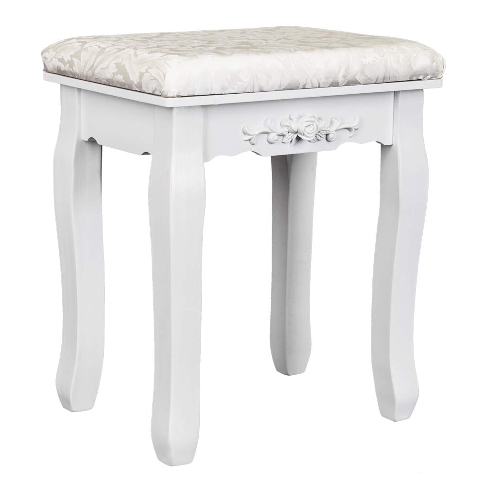 Vanity Stool Makeup Bench Dressing Stools Retro Wave Foot Floor Pad for Scratch Solid Pine Wood Legs Thick Padded Cushioned Chair Piano Seat Bedroom Large Vanity Benches (White) by Yizhen-G