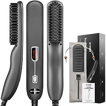 Siyinmm Mini Beard Straightening Quick Heated Comb Brush