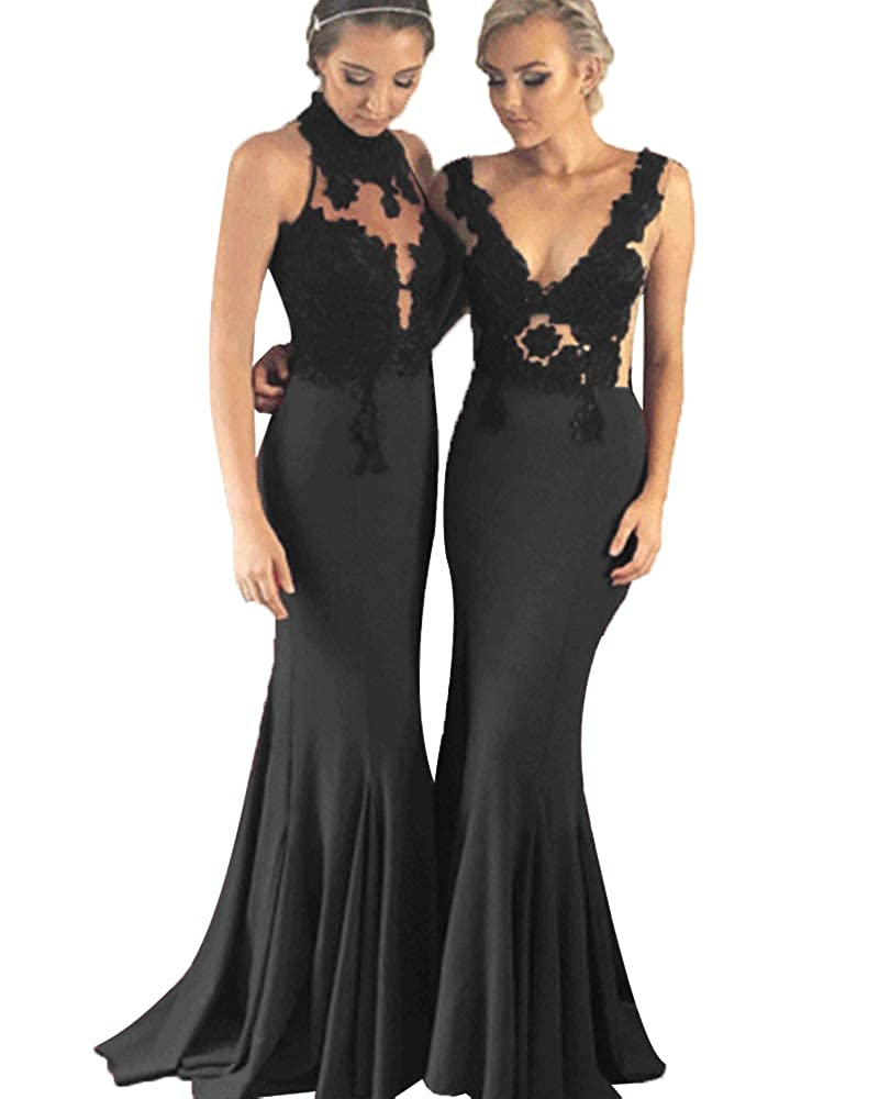 Blacka SDRESS Women's Lace Applique Mermaid Bridesmaid Dress Illusion Evening Gowns Long Prom Dress