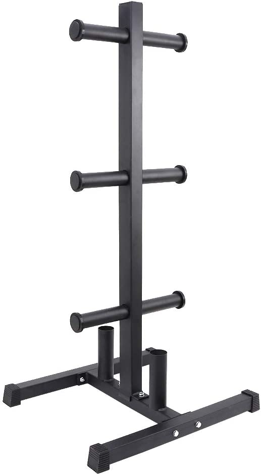 StarONE 2 Inch Olympic Weight Plate Rack Tree w/ 2 Barbell Holder for Home Gym Storage