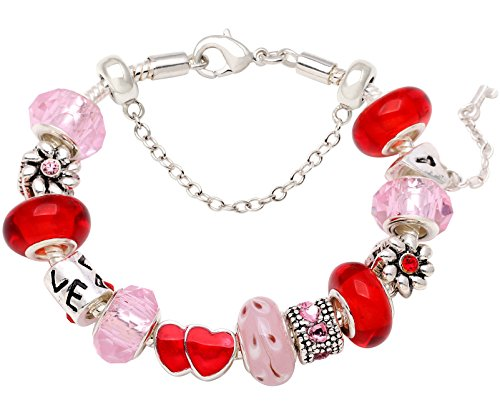 Charm Bead Bracelets Love Holds Our Hearts Together Bracelet Rose Red and Sweet Pink - Holds 3 Charms