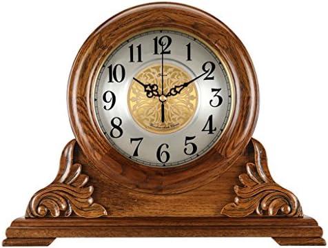 Reloj de Mesa silencioso Mantel Relojes de Sala de Estar Dormitorio Vintage Reloj de Cuarzo de Madera Maciza Adornos -MAX Home (Color : #-001)