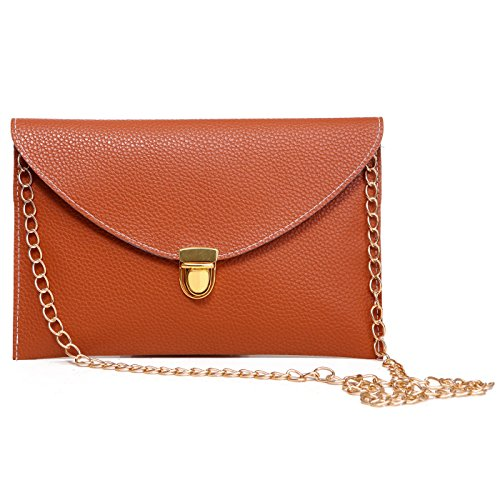 HDE Women's Fashion Clutch Chain Purse Gold Buckle Leather Envelope Handbag