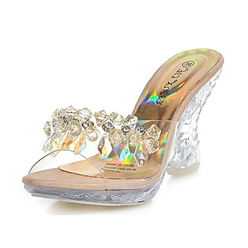 Clear High Heels Platform Crystal Sandals Sparkling Diamonds Summer For Women's Shoes Girl's B(M) US8/EU39/UK6/CN39 Medium, Gold)