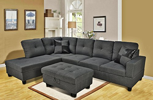 Beverly Fine Furniture F128A Left Facing Linen Russes Sectional Sofa Set with Ottoman, Gray