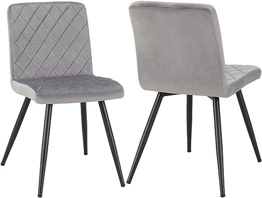 Esszimmerstuhl aus Stoff Samt Farbauswahl Stuhl Retro Design Polsterstuhl mit Rückenlehne Metallbeine Duhome 8043L, Farbe:Grau, Material:Samt