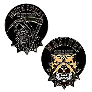 USMC Death Smiles at Everyone Marines Smile Back - Marine Corps Challenge Coin by MVP Studios