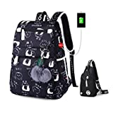 kenmore 10 pc - Teenage Backpacks Female School Usb School Bags Girls Backpack Pack Women Laptop Backpack Cartoon Women Set 8