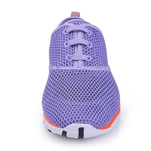 Wasser Schuhe für Frauen schnell trocknende Aqua Schuhe Strand Pool Schuhe Sportliche Sport Wanderschuhe Mesh Slip On Lila