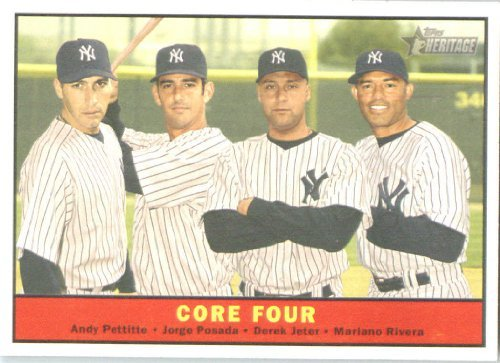 Heritage Card 2010 Topps - 2010 Topps Heritage Baseball Card # 411 Derek Jeter / Pettitte / Posada / Rivera (Core Four ) New York Yankees - Mint Condition - MLB Trading Card Shipped In Protective ScrewDown Display Case!