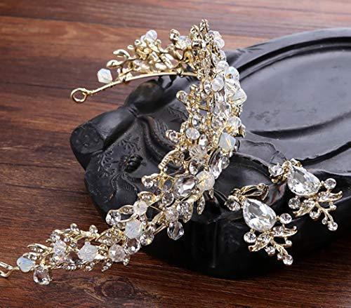 Wedding Crown Aniwon orecchini Strass con decorativo Bridal bianchi Set AHwOB7w6q
