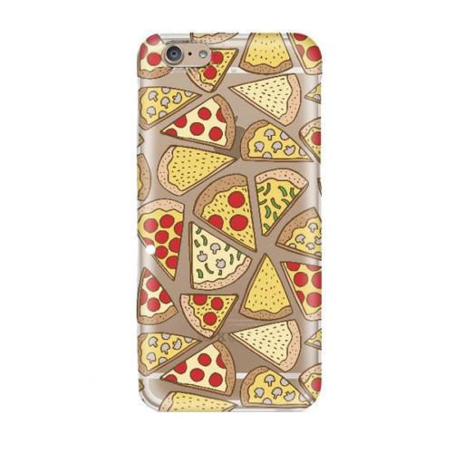 (iPhone 8 Plus / 7 Plus Compatible, Fruit Surprises Colorful Rubber Flexible Silicone Case Bumper Clear Cover - Cheese Pepperoni Pizza Treat Delight)