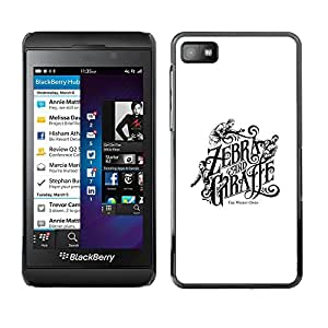 Shell-Star Arte & diseño plástico duro Fundas Cover Cubre Hard Case Cover para Blackberry Z10 ( Zebra Giraffe Book Cover White Black )
