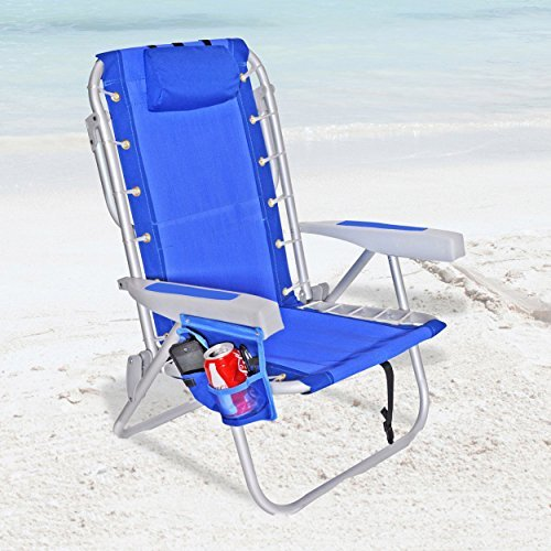 Rio Ultimate Backpack Beach Chair w/ cooler Pouch Colors: Dark Blue w/ Cooler Pouch