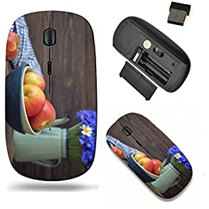 Liili Wireless Mouse Travel 2.4G Wireless Mice with USB Receiver, Click with 1000 DPI for notebook, pc, laptop, computer, mac book Apples and blueberry in bowl and flowers in kettle with on wooden bac